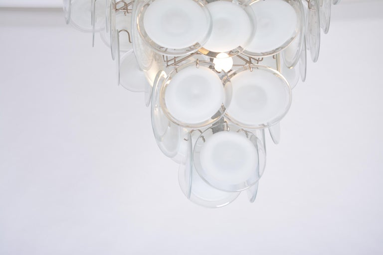 Huge Vintage Italian Chandelier with White Murano Glass Discs For Sale 4