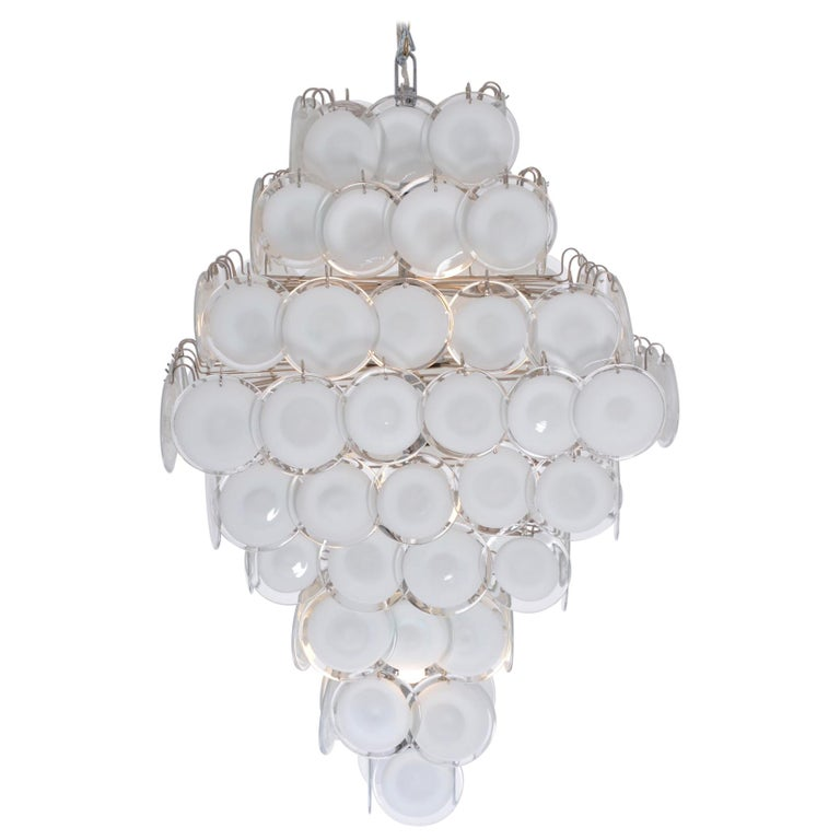Huge Vintage Italian Chandelier with White Murano Glass Discs For Sale