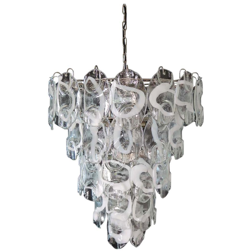 Huge Vintage Italian Murano Chandelier Lamp by Vistosi, 50 Glasses