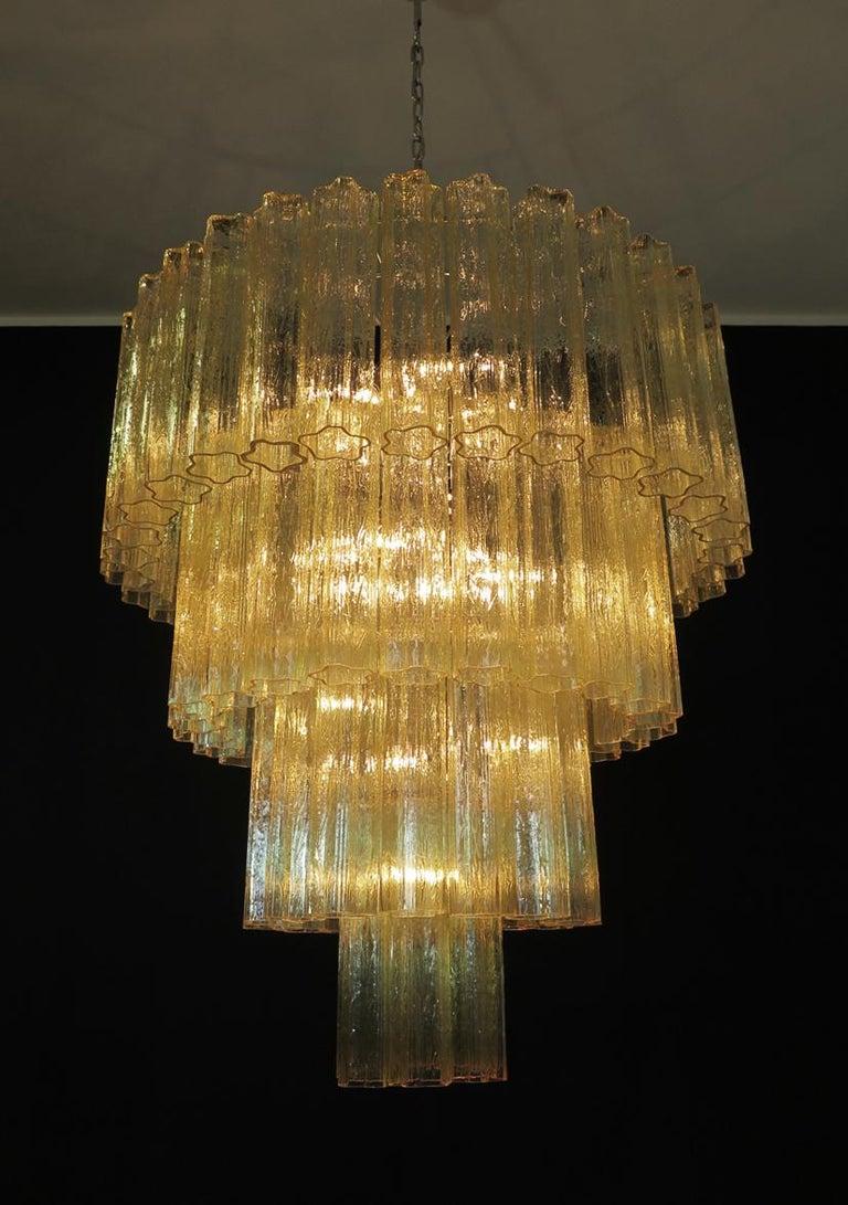 Huge Vintage Murano Glass Tiered Chandelier, 78 Glasses, Light Amber For Sale 4
