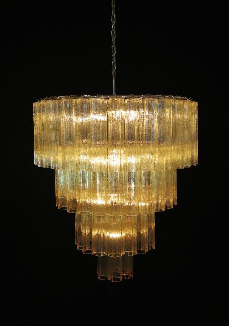Huge Vintage Murano Glass Tiered Chandelier, 78 Glasses, Light Amber For Sale 5