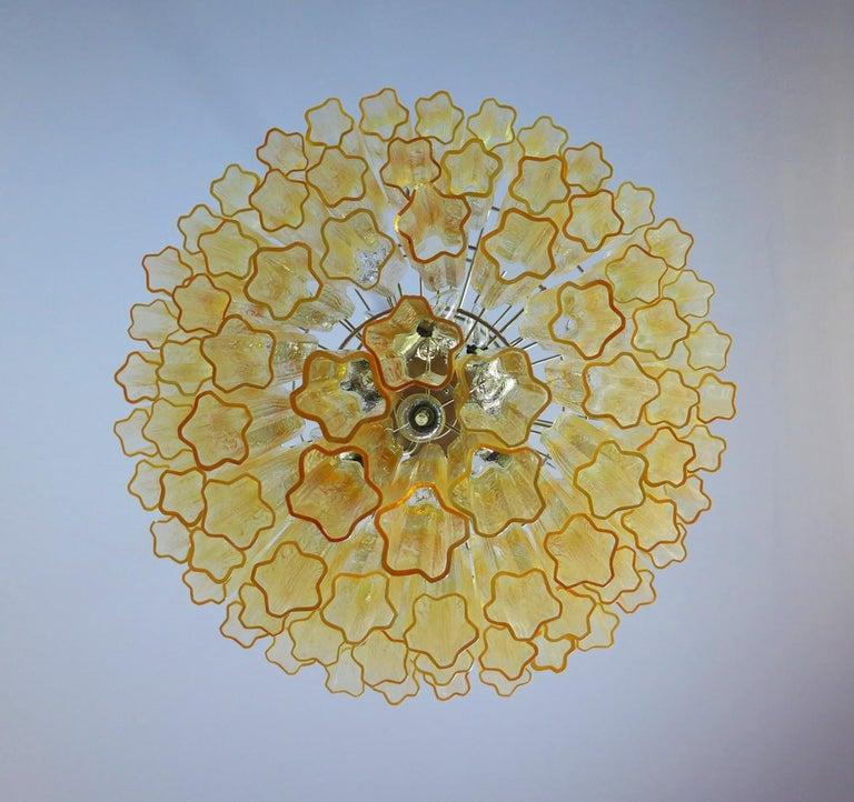 Mid-Century Modern Huge Vintage Murano Glass Tiered Chandelier, 78 Glasses, Light Amber For Sale