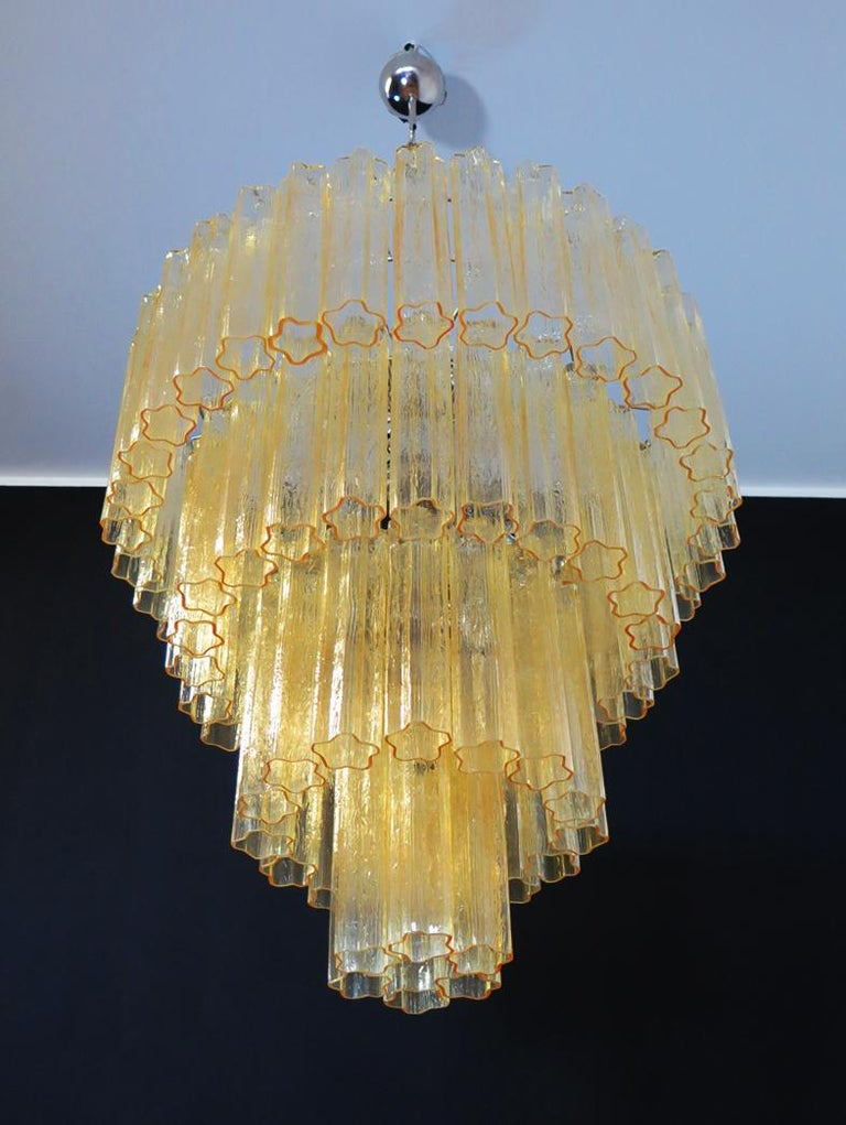 Italian Huge Vintage Murano Glass Tiered Chandelier, 78 Glasses, Light Amber For Sale
