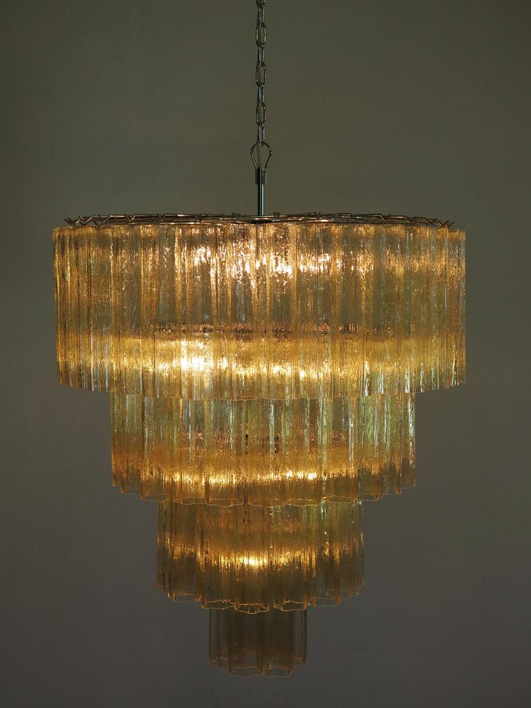Late 20th Century Huge Vintage Murano Glass Tiered Chandelier, 78 Glasses, Light Amber For Sale