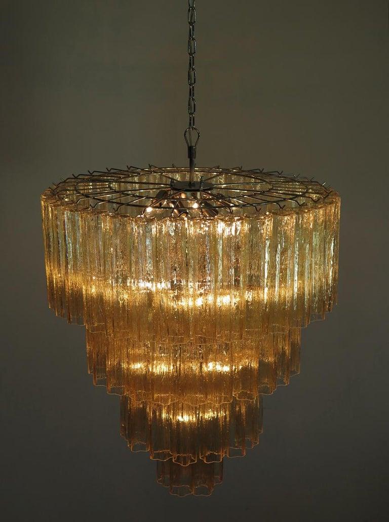 Huge Vintage Murano Glass Tiered Chandelier, 78 Glasses, Light Amber For Sale 1