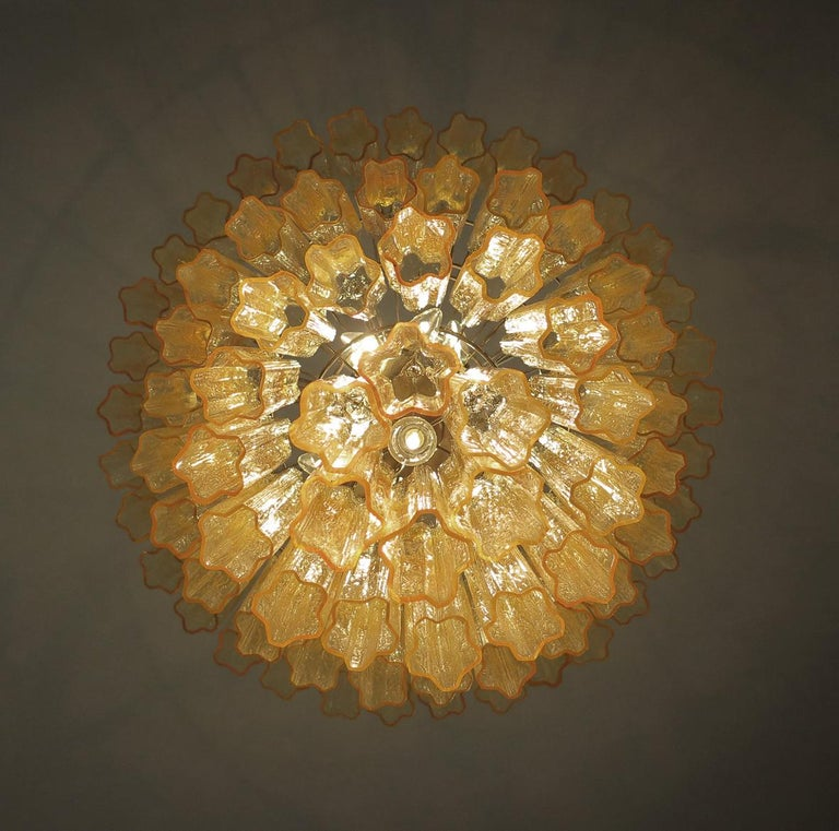Huge Vintage Murano Glass Tiered Chandelier, 78 Glasses, Light Amber For Sale 2