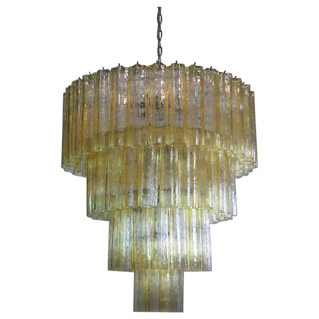 Huge Vintage Murano Glass Tiered Chandelier, 78 Glasses, Light Amber