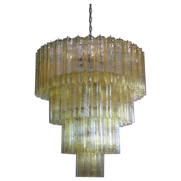 Huge Vintage Murano Glass Tiered Chandelier, 78 Glasses, Light Amber For Sale
