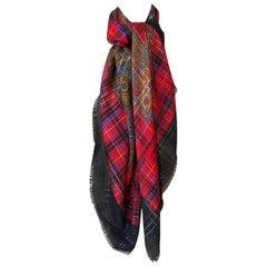 Huge Vintage Yves Saint Laurent Metallic Plaid & Paisley Fine Silk Wool Scarf