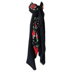 Huge Vintage Yves Saint Laurent Silk Red Rose Print Black Scarf