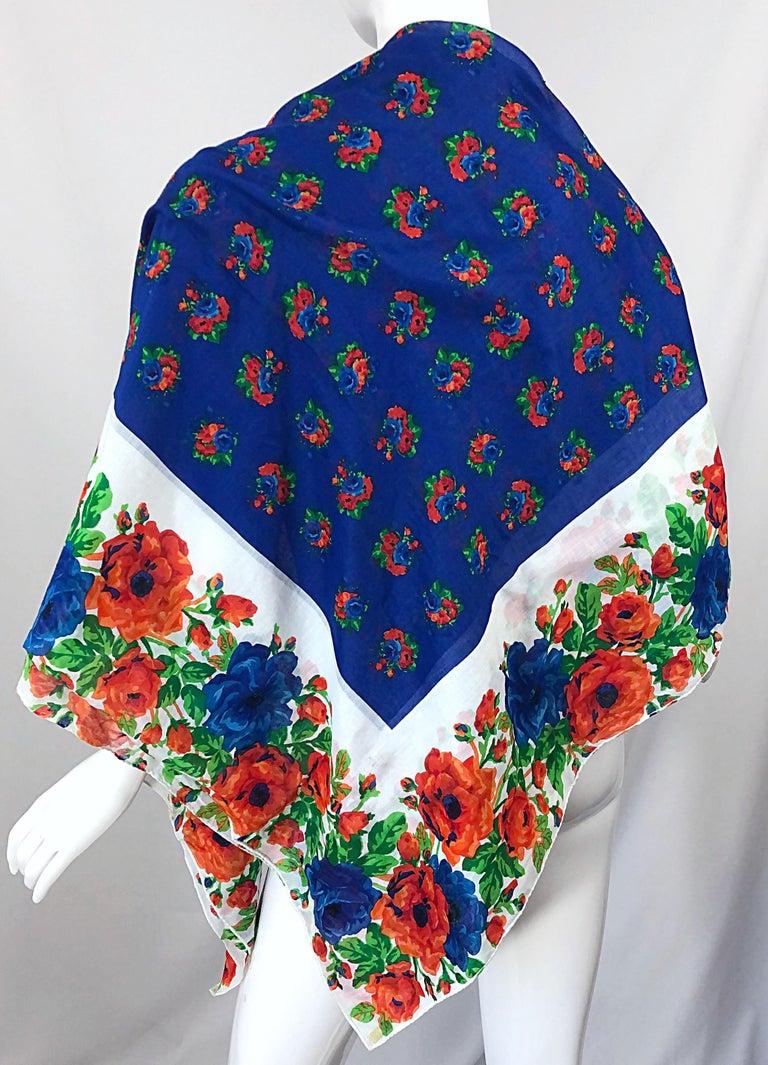 Huge Vintage Yves Saint Laurent YSL 54 x 54 Inch Cotton Voile Scarf Parero Shawl For Sale 6