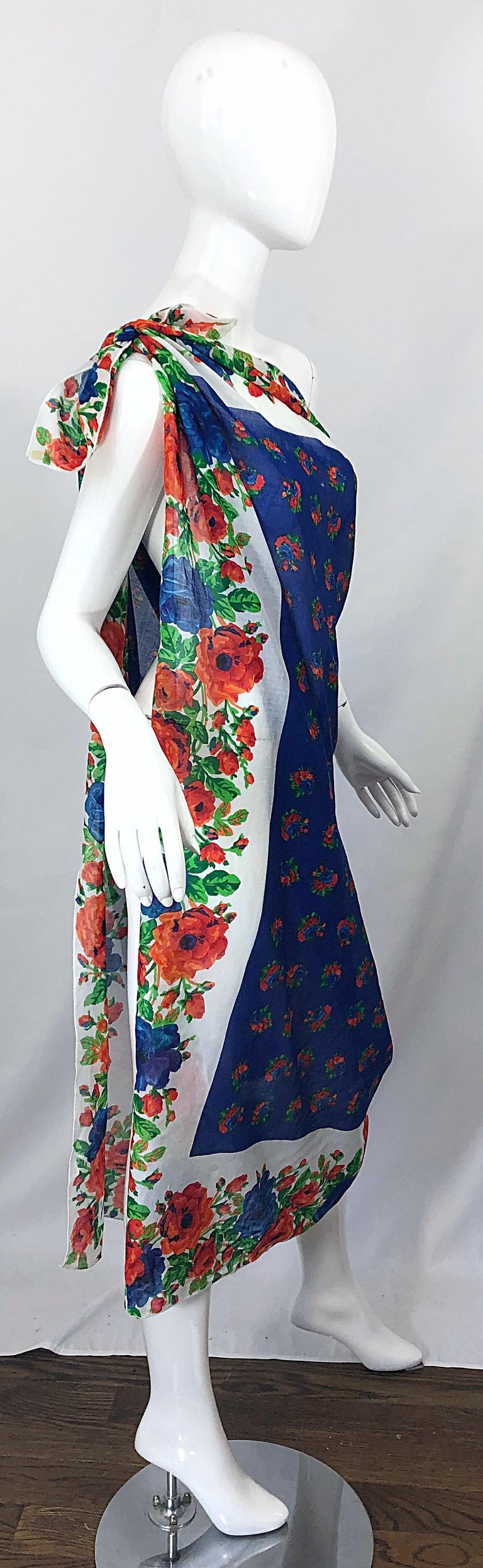 Huge Vintage Yves Saint Laurent YSL 54 x 54 Inch Cotton Voile Scarf Parero Shawl For Sale 8