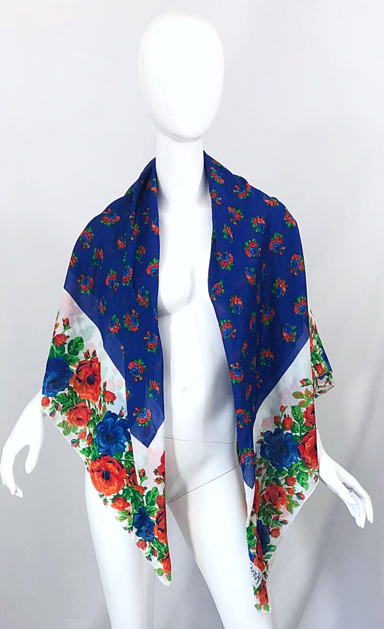 Gorgeous huge vintage YVES SAINT LAURENT YSL lightweight cotton voile flower printed scarf / shawl / parero! Lined with beautiful flowers in royal blue, blue, orange, green and white. Can be worn multiple ways, and would also work great as a