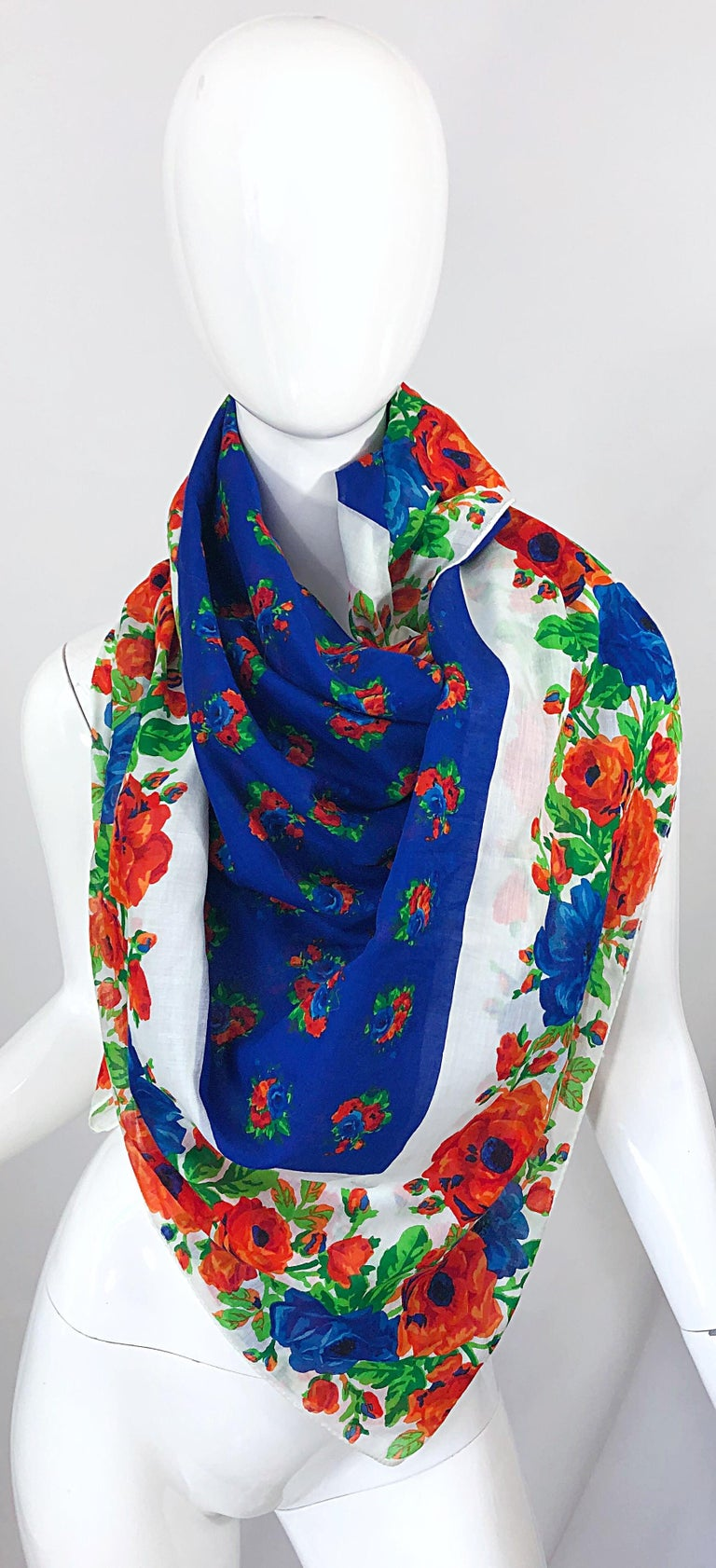 Huge Vintage Yves Saint Laurent YSL 54 x 54 Inch Cotton Voile Scarf Parero Shawl In Excellent Condition For Sale In Chicago, IL
