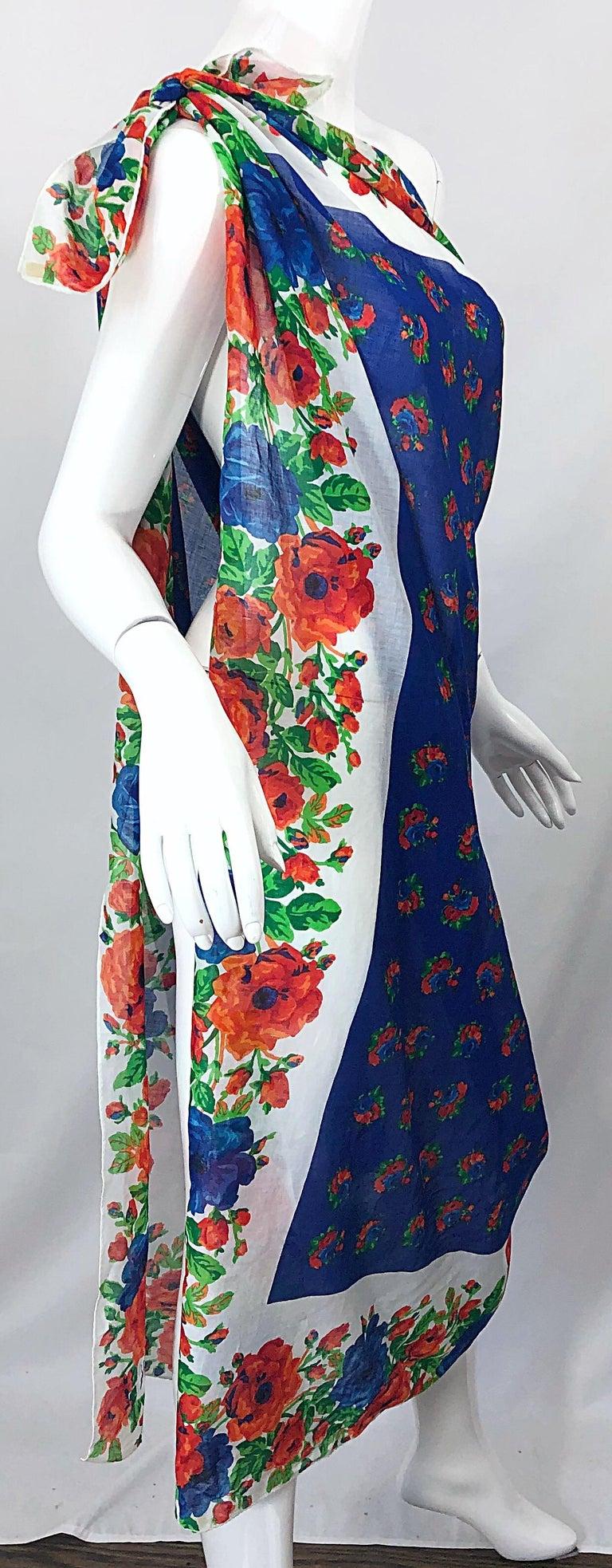 Huge Vintage Yves Saint Laurent YSL 54 x 54 Inch Cotton Voile Scarf Parero Shawl For Sale 2