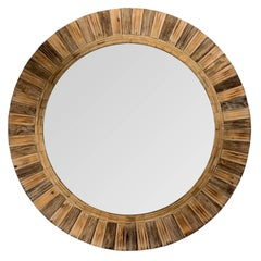 Huge Weathered Wood Frame Sunburst Mirror
