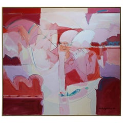 Huge Wesley Johnson Abstract Oil Painting in Variation of Pink