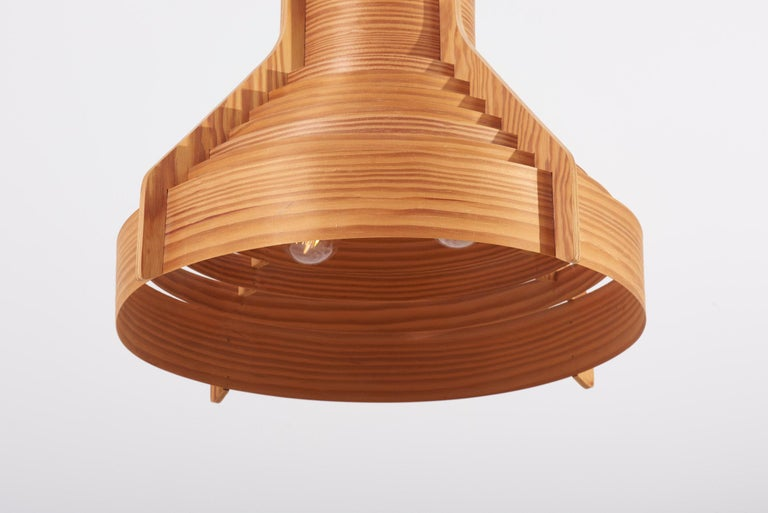 Huge Wooden Pendant Lamp by Hans-Agne Jakobsson for AB Ellysett Markaryd, Sweden For Sale 4