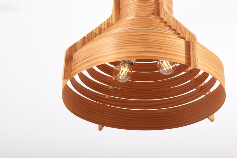 Huge Wooden Pendant Lamp by Hans-Agne Jakobsson for AB Ellysett Markaryd, Sweden For Sale 5