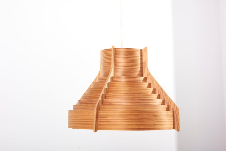 Huge Wooden Pendant Lamp by Hans-Agne Jakobsson for AB Ellysett Markaryd, Sweden For Sale 6