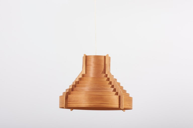 Huge Wooden pendant lamp, designed in 1960s by Hans-Agne Jakobsson and manufactured by AB Ellysett Markaryd in Sweden.