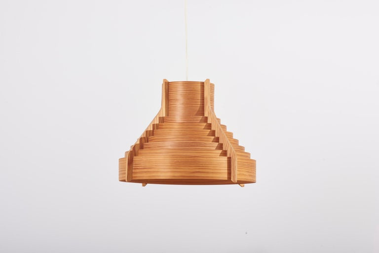 Scandinavian Modern Huge Wooden Pendant Lamp by Hans-Agne Jakobsson for AB Ellysett Markaryd, Sweden For Sale