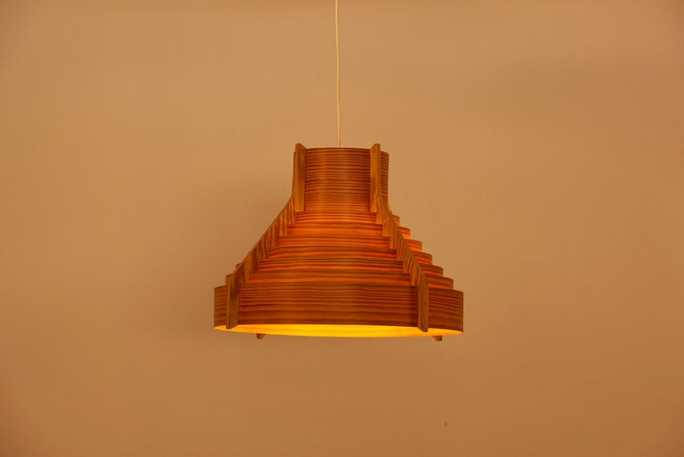Swedish Huge Wooden Pendant Lamp by Hans-Agne Jakobsson for AB Ellysett Markaryd, Sweden For Sale