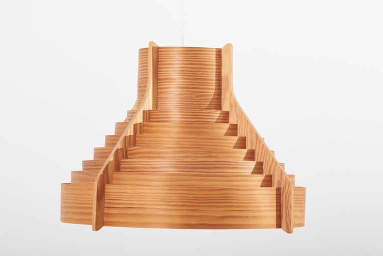 Huge Wooden Pendant Lamp by Hans-Agne Jakobsson for AB Ellysett Markaryd, Sweden For Sale 2