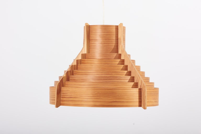 Huge Wooden Pendant Lamp by Hans-Agne Jakobsson for AB Ellysett Markaryd, Sweden For Sale 3