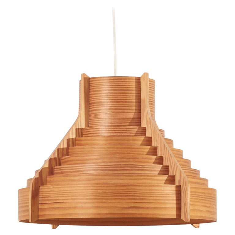 Huge Wooden Pendant Lamp by Hans-Agne Jakobsson for AB Ellysett Markaryd, Sweden For Sale