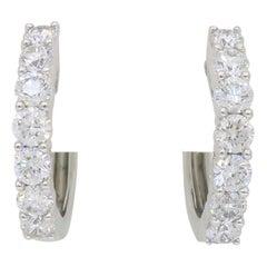 Huggie Diamond Hoop Earrings in 18 Karat White Gold