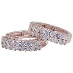 Huggie Diamond Hoops Earrings 14 Karat Rose Gold