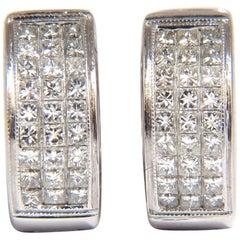Huggie Earrings 1.50 Carat Natural Diamonds Invisible Set Princess Cut Classic