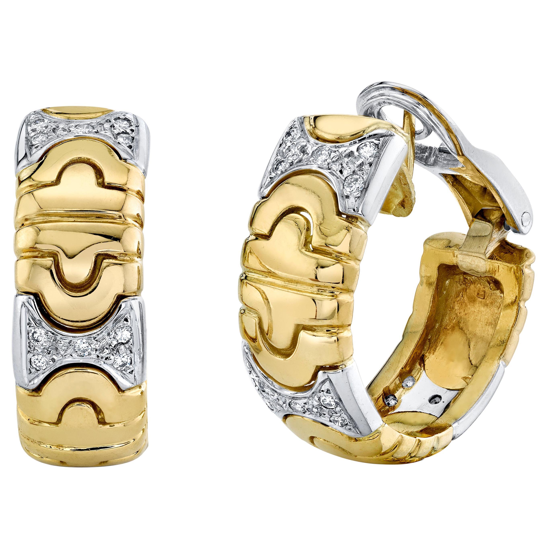 Huggie Hinged Hoop Earrings with Diamond 18 Karat Yellow Gold