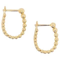 Huggie Hoop Earrings, 14 Karat Gold Beaded Huggie, Gabriel & Co. EG13988Y4JJJ