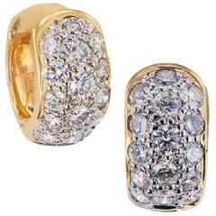 Huggy Diamond Yellow Gold Hoop Earrings