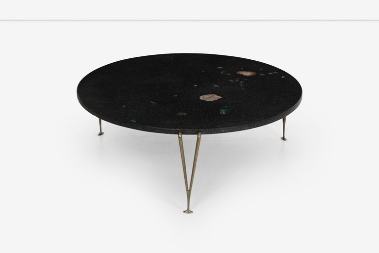 Mid-Century Modern Hugh Acton Cocktail Table with Black Granite Top For Sale