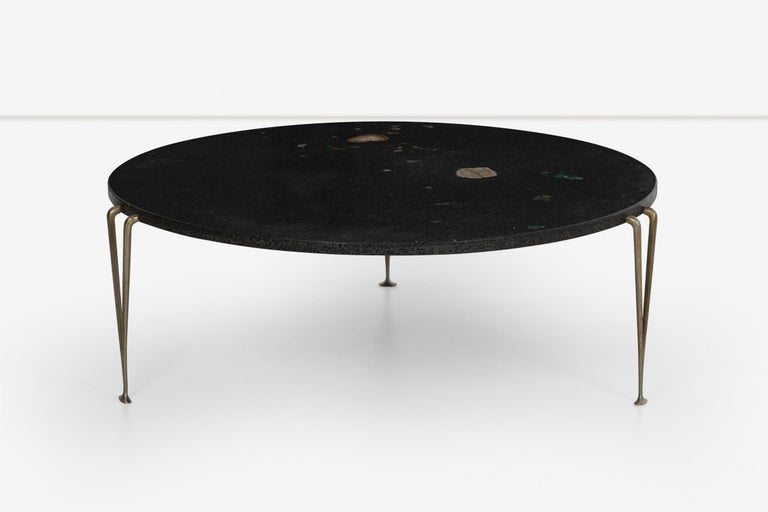 American Hugh Acton Cocktail Table with Black Granite Top For Sale