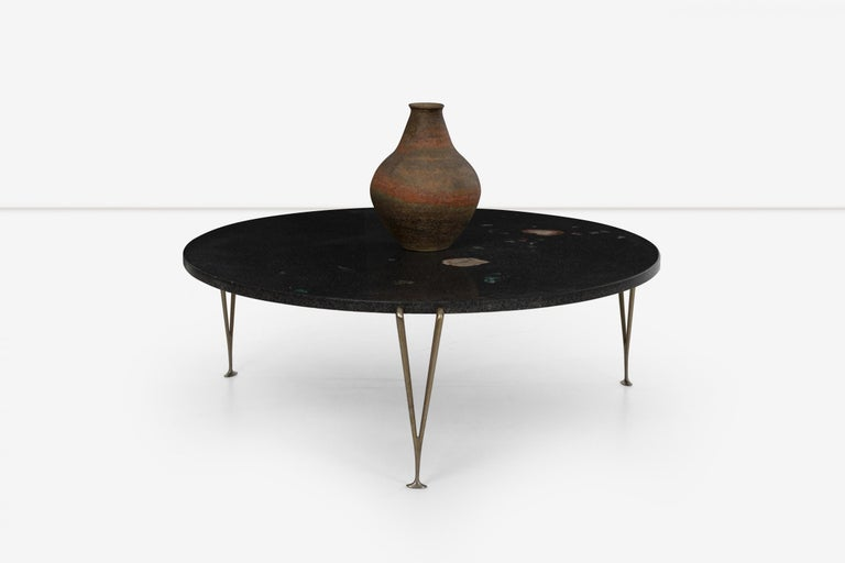 Hugh Acton Cocktail Table with Black Granite Top In Good Condition For Sale In Chicago, IL