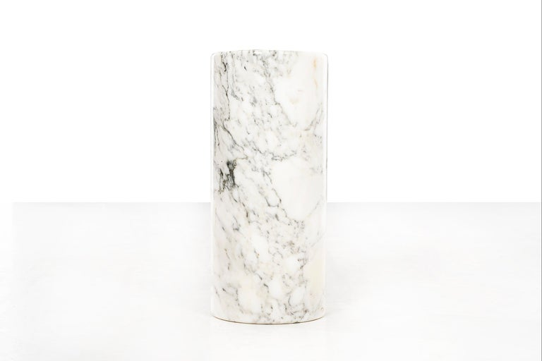 Hugh Acton Custom planter, solid Carrera marble with carved concave top.