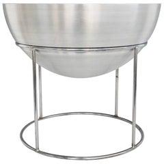 Hugh Acton Spun Aluminum Planter Pot in Chrome Steel Stand