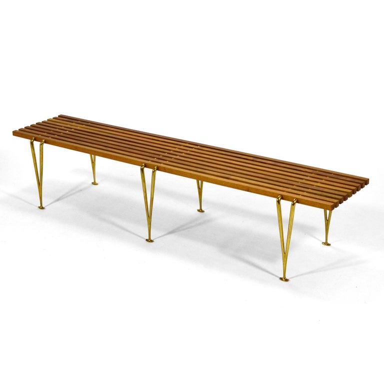 American Hugh Acton Suspension Beam Slat Bench For Sale