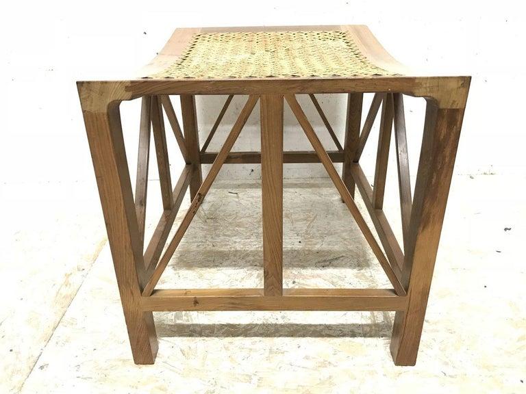 English Hugh Birkett, Master Craftsman, an Arts & Crafts Handmade Yew Wood Thebes Stool For Sale