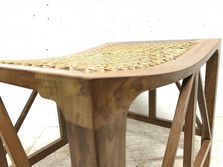 Cane Hugh Birkett, Master Craftsman, an Arts & Crafts Handmade Yew Wood Thebes Stool For Sale
