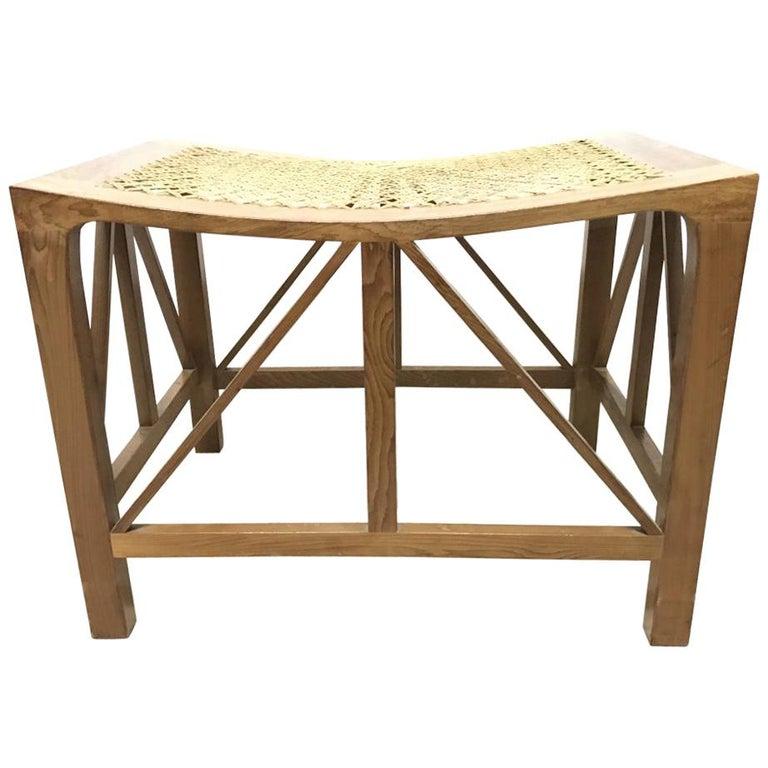 Hugh Birkett, Master Craftsman, an Arts & Crafts Handmade Yew Wood Thebes Stool For Sale