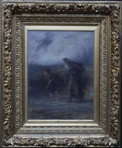 Old Man and Boy with Harp - Scottish Impressionist Victorian oil painting art