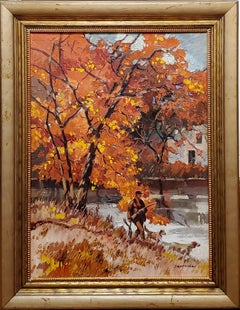 Bright Autumn Impressionist Landscape of Man Hunting With His Dogs