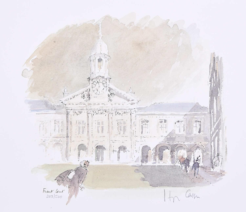 Hugh Casson Emmanuel College Cambridge Front Court limited edition print