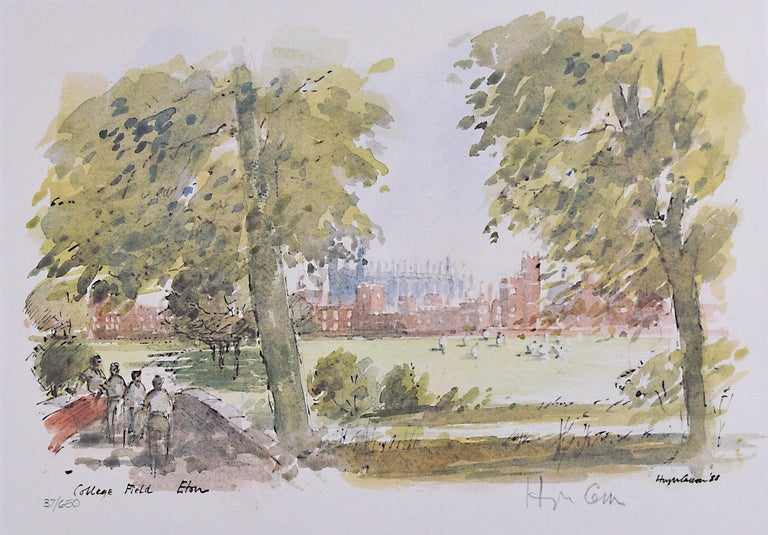 Hugh Casson Eton College 'College Field' signed limited edition print - Print by Hugh Casson