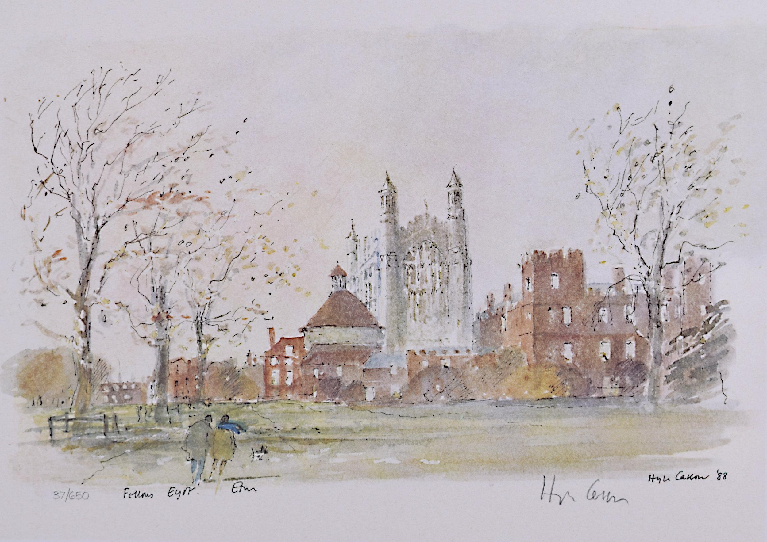 Hugh Casson Eton College 'Fellows Eyot' signed limited edition print